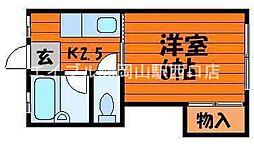 岡山県岡山市北区高柳東町の賃貸アパートの間取り