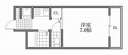 大阪府大阪市浪速区戎本町1丁目の賃貸マンションの間取り