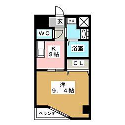 ルラシオン江戸橋 3階1Kの間取り