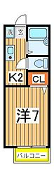 千葉県柏市中新宿2の賃貸アパートの間取り