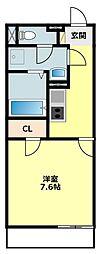 JR東海道本線 西岡崎駅 徒歩7分の賃貸アパート 2階1Kの間取り