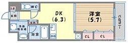DAIWA RESIDENCE FUDANOTSUJI(ダイワレジデンス札辻) 4階1DKの間取り