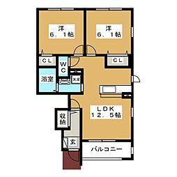 Yハウス 1 1階2LDKの間取り