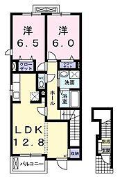 ウエルス 2階2LDKの間取り