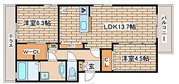 兵庫県神戸市東灘区住吉本町1丁目の賃貸アパートの間取り