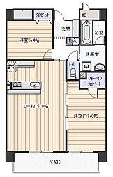 大阪府八尾市東山本新町6丁目の賃貸マンションの間取り
