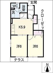 エステートHibino B[1階]の間取り