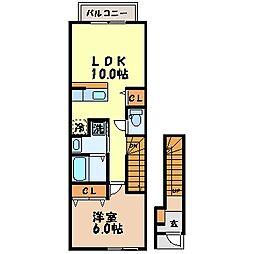 長崎県諫早市多良見町化屋の賃貸アパートの間取り