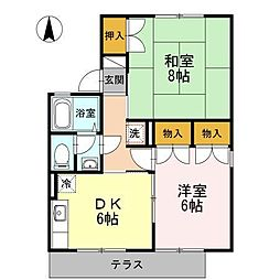 長野県長野市篠ノ井御幣川の賃貸アパートの間取り