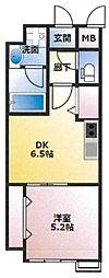(仮)東古松4丁目マンション 4階1DKの間取り