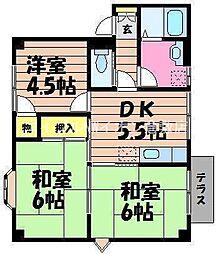 岡山県倉敷市東町丁目なしの賃貸アパートの間取り