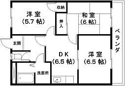 滋賀県近江八幡市中村町の賃貸マンションの間取り