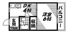 Osaka Metro谷町線 大日駅 徒歩15分の賃貸マンション 4階1DKの間取り