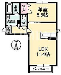 岡山県岡山市北区平田の賃貸アパートの間取り