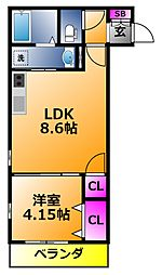 K s Residence瓢箪山 1階1LDKの間取り