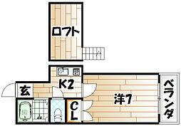 オアシス城野 A棟[2階]の間取り
