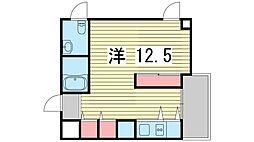 S-Cute魚崎 6階ワンルームの間取り