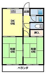 水源ハイツI[203号室]の間取り