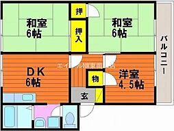 岡山県玉野市田井3丁目の賃貸アパートの間取り