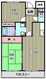 大阪府富田林市新家2丁目の賃貸マンションの間取り