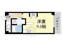 Osaka Metro谷町線 千林大宮駅 徒歩14分の賃貸マンション 2階ワンルームの間取り