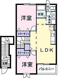 千葉県千葉市緑区あすみが丘8丁目の賃貸アパートの間取り