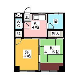 コーポおかむら荘[3階]の間取り