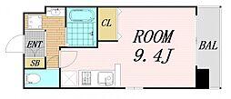 Osaka Metro谷町線 野江内代駅 徒歩5分の賃貸マンション 5階ワンルームの間取り