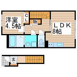 貝ヶ森1丁目新築アパート 2階1LDKの間取り