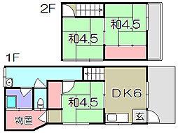 [テラスハウス] 滋賀県愛知郡愛荘町沓掛 の賃貸【滋賀県 / 愛知郡愛荘町】の間取り