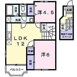 福岡県北九州市若松区大字畠田の賃貸アパートの間取り