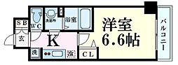 Osaka Metro堺筋線 扇町駅 徒歩5分の賃貸マンション 13階1Kの間取り