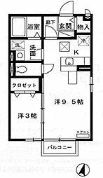 茨城県つくば市東光台4丁目の賃貸アパートの間取り