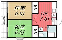 千葉県千葉市若葉区加曽利町の賃貸アパートの間取り