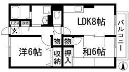 兵庫県川西市出在家町の賃貸アパートの間取り