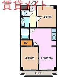 三重県鈴鹿市算所3丁目の賃貸マンションの間取り
