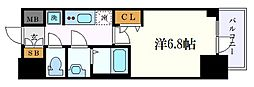 名古屋市営鶴舞線 浅間町駅 徒歩7分の賃貸マンション 13階1Kの間取り