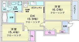 パークメゾン15 1階2DKの間取り