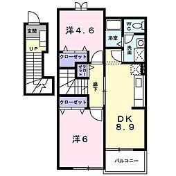 新潟県村上市下相川の賃貸アパートの間取り