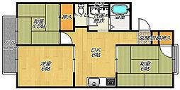 大阪府四條畷市田原台1丁目の賃貸アパートの間取り
