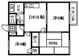 ピアコート岸和田[2階]の間取り