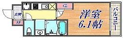 エステムコート三宮EAST4ザ・フロント 13階1Kの間取り