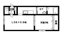 グランメール北元町[403号室]の間取り