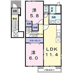 高松琴平電気鉄道琴平線 陶駅 徒歩7分の賃貸アパート 2階2LDKの間取り