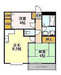 JR南武線 西府駅 徒歩5分の賃貸マンション 1階2DKの間取り