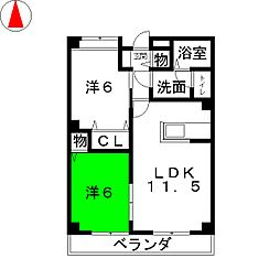 グリーンハイムT[1階]の間取り