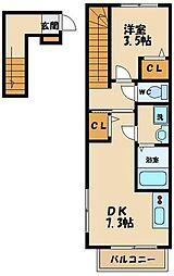 メゾンユティール 2階1DKの間取り
