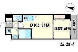 ワールドアイ大阪緑地公園[6階]の間取り