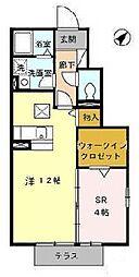 愛知県名古屋市南区南野2の賃貸アパートの間取り