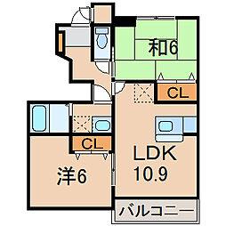 福島県福島市宮代字北口の賃貸アパートの間取り